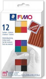 Fimo Soft-sada 12 barev x25g Leather Efekt